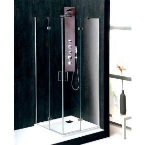Vitra Line Rahmenlose Duschabtrennung, Eckeinstieg mit zwei Pendeltüren