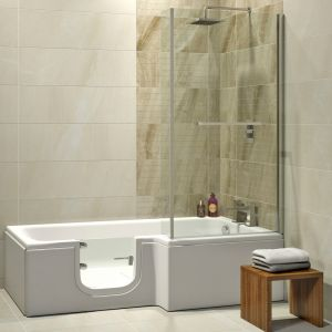 Seniorenbadewanne Fassungsvermögen: 170 Liter Tiefe: 53,5 cm Breite: 85/70 cm Länge: 170 cm Farbe: weiß Material: Sanitäracryl